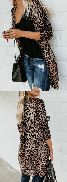 Brown velvet pullover with leopard pattern and front button placket Fashion Mode, Fashion 2018, Look Fashion, Womens Fashion, Fashion Beauty, Mode Outfits, Casual Outfits, Fashion Outfits, Fall Winter Outfits
