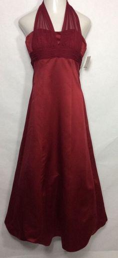 New DAVID'S BRIDAL Red Chiffon Prom Dress 81441 / Long Halter Evening Gown (4) #DavidsBridal #BallGownEmpireWaist #Formal