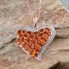 Jalisco Fire Opal Pendant with Chain in 14K Rose Gold and Platinum Overlay Sterling Silver (Nickel Free)