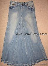 Industrial Cotton RARE Long Denim Jean Flare Skirt HIPPIE BOHO Style Juniors Size 3