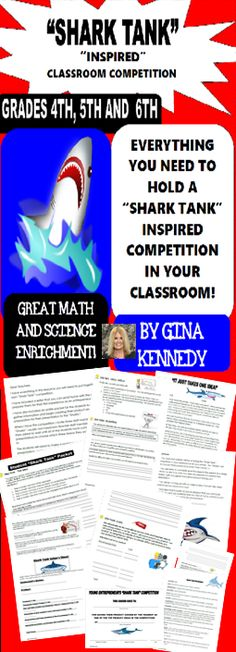 "Shark Tank! Classroom or school competition! It's never too early to encourage your young entrepreneurs. I've included everything you need with this resource to have a ""Shark Tank"" inspired classroom competition in your own classroom. Students will use innovative math and science skills with partners to create a product that will help students with specific problems at school. Great for teaching inventions, personal finance with profits, losses and etc. and just plain fun!$"
