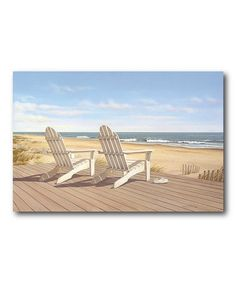 Hampton Beach Chair Wall Art By Artist Daniel Pollera Stretched Canvas With A White Frame X Made In The Usa Bed Bath Beyond