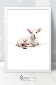 Little Lamb Nursery Print - This sweet baby sheep print is the perfect way to make your little ones' Sheep Nursery, Farm Animal Nursery, Baby Lamb Nursery, Sheep Paintings, Animal Paintings, Sheep Drawing, Lamb Drawing, Nursery Prints, Nursery Art