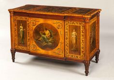 A Very Fine Antique Satinwood Painted Commode.