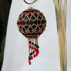 Beadwork Holiday Christmas Ornament by ArtMasquerading on Etsy, $20.00