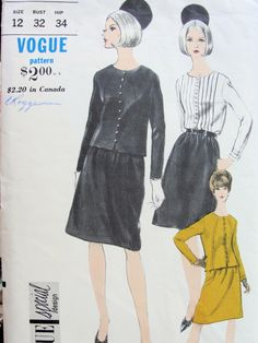 1960s MOD SUIT, BLOUSE PATTERN CLASSY COLLARLESS JACKET, A LINE SKIRT, PIN TUCK BLOUSE VOGUE SPECIAL DESIGN PATTERNS 6639