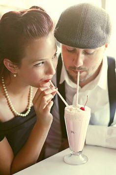 A 50's Retro Diner Engagement minus actually dressing retro.. Super cute!! Love the milkshake