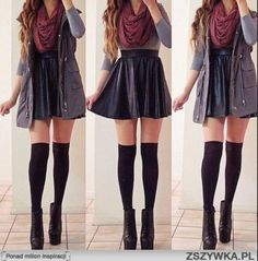 Grey elbow-sleeved shirt // Leather skater skirt // Maroon circle scarf // Sleeveless hooded rain-jacket // Black knee socks // Black ankle boots with heels