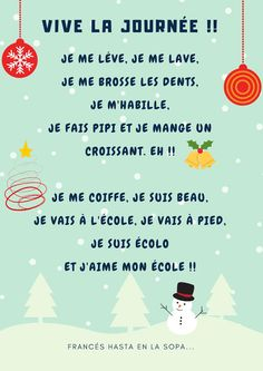 Francés hasta en la sopa...: VIVE LA JOURNÉE ! French Expressions, French Teacher, Teaching French, Basic French Words, French Songs, French Grammar, Language, Study, Reading