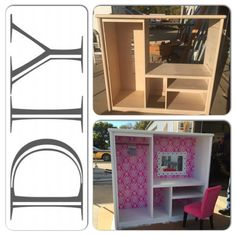 We transformed an old entertainment center into a dress up station for our…