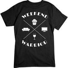 [Basic Tee] - Weekend Warrior White - Artopia   Weekends are for being lazy, show off your love for your favorite two days with this shirt. Netflix, couch time with cupcakes and wine, on the weekend, yes please. This also makes a great gift for your favorite weekend warrior!  Our crew neck tee is made with 4.5 oz. 100% super soft combed ring-spun cotton and is preshrunk.