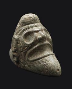 Taino Greenstone Trigonolitos Depicting a Skull Origin: Dominican Republic Circa: 1100 AD to 1500 AD