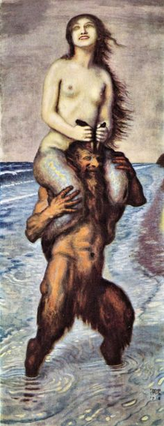 Faun and Nixe by Franz von Stuck. Faun = Pan, nature deity; Nixe = water nymph of rivers