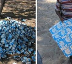 Inspirational! The school cook at Gunotsoga Primary School turning trash into a floor mat for the Grade 1 reading corner...