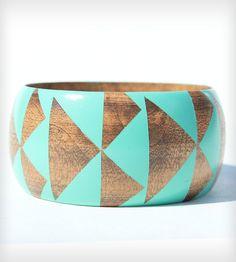Stained Wood Bangle - Seafoam