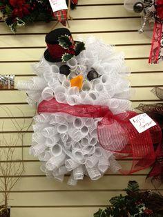 Red Snowman Mesh Wreath