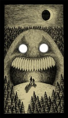 Moonlight Monster By Don Kenn Gravure Illustration, Monster Illustration, Illustration Art, Arte Horror, Horror Art, Don Kenn, Arte Obscura, Drawn Art, Monster Art
