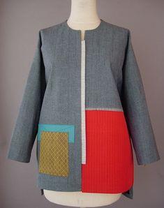 Asymmetrical Kimono Vest in Gray , White , Red Orange Accent