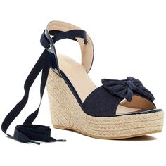 Catherine Catherine Malandrino Ziany Espadrille Wedge Sandal ($65) ❤ liked on Polyvore featuring shoes, sandals, denim, open toe sandals, wedges shoes, platform sandals, ankle strap wedge sandals and espadrille sandals