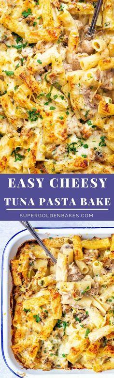 Creamy Tuna Pasta, Tuna Pasta Bake, Baked Pasta Recipes, Chicken Recipes, Slimming World Tuna Pasta, Inexpensive Meals, Tuna Salad, Freezer Meals, Casserole Recipes