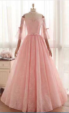 3c6a246bb60ef Multilayer Space Rose Lace Dress A Word Shoulder Belt Party Dress  Long-sleeved Romance