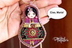 matryoska doll, OOAK, art doll, embroidery handmade