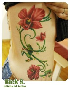 Red Eyed Tree Frog and Orchids Tattoo