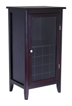 Wine Racks - Winsome Wood Wine Cabinet with Glass Door Espresso ** See this great product.