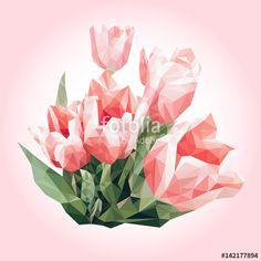 """Téléchargez le fichier vectoriel libre de droits """"Spring flowers bouquet. Low poly pink tulips. Color background. Polygonal background, mosaic, card."""" créé par makarenkova au meilleur prix sur Fotolia.com. Parcourez notre banque d'images en ligne et trouvez l'illustration parfaite pour vos projets marketing ! Spring Flower Bouquet, Spring Flowers, Low Poly, Tulip Colors, Polygon Art, Pink Tulips, Geometric Art, Digital Illustration, Vector Art"""