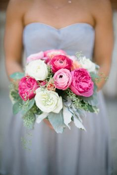 Peonies and ranunculus make the prettiest bouquets: http://www.stylemepretty.com/2012/12/04/urban-chic-chicago-wedding-from-katie-kett-photography/   Photography: Katie Kett - http://www.katiekettphotography.com/