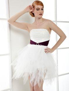 Sans bretelles perlées Net châssis Cocktail robe blanche - Milanoo.com
