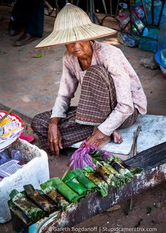 A small food market at the Western Baray in Cambodia.