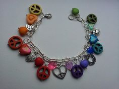Peace and Love charms bracelet