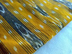 Ikat Handloom Cotton Fabric Turmeric Yellow Cream Black by RaajMa Sold Out!