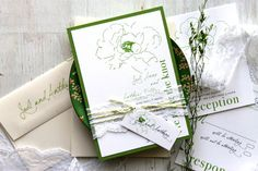 Simple Green Wedding Invitations Green Ivory Lace by BeaconLane