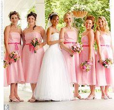 Pale pink tea-length dresses with dark pink sashes. Light Pink Bridesmaid Dresses, Wedding Bridesmaids, Wedding Dresses, Wedding Pics, Wedding Ceremony, Wedding Ideas, Tea Length Dresses, Spring Wedding, Wedding Colors