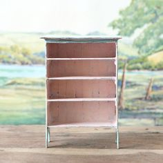 Pink and light blue wood bookcase. Shabby Chic Couture, Shabby Chic Decor, Hand Painted Furniture, Vintage Furniture, Simply Shabby Chic, Blue Wood, Shiloh, Dollhouse Furniture, Doll Toys