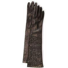 Bottega Veneta Intrecciato Napa Long Gloves ($620) ❤ liked on Polyvore featuring accessories, gloves, black, opera gloves, black opera gloves, elbow length gloves, knuckle gloves and long gloves