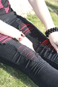 Ripped Jeans ~ put some color under there :)
