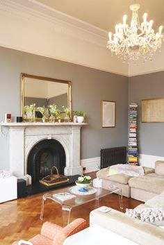 Farrow & Ball's Manor House Gray is the perfect hue for the living room in Laura's Bright and Beautiful Victorian Duplex in Glasgow.