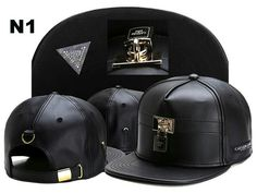 6b42876dcad Mens Black Leather CAYLER SONS lock Snapback Adjustable Baseball Cap Hip  hop Hat in Clothing