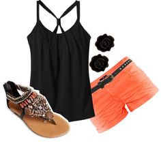 """Black and Coral"" by felicia-alexandra on Polyvore Clothes  Outift for • teens • movies • girls • women •. summer • fall • spring • winter • outfit ideas • dates • parties Polyvore :) Catalina Christiano"