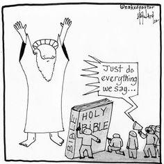 """God at Gunpoint"" (cartoon by nakedpastor)"