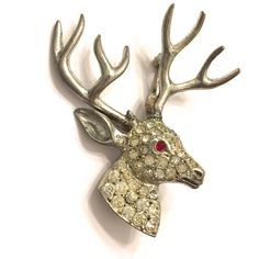 Figural Rhinestone Brooch, Pave Clear and Red Rhinestone Deer Brooch,... ($65) ❤ liked on Polyvore featuring jewelry, brooches, pin brooch, vintage jewellery, pave jewelry, deer jewelry and vintage pins brooches