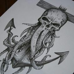 Davy Jones themed tattoo sketch I did! One of my favorite original pieces I've d. - Davy Jones themed tattoo sketch I did! One of my favorite original pieces I've done, and I used @ - Pirate Tattoo, Body Art Tattoos, Nautical Tattoo, Trendy Tattoos, Kraken Tattoo, Davy Jones, Octopus Tattoos, Tattoo Sketches, Tattoo Designs