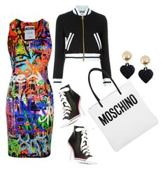 """""""Untitled #1827"""" by misnik ❤ liked on Polyvore featuring Moschino, women's clothing, women, female, woman, misses and juniors"""