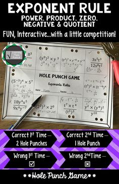 Everyone loves to play a game, right? This is a perfect, easy set up game - all you need is a hole punch! All problems use 2 or more exponent rules, a great variety - and not too difficult! Great way to see where your students are after practicing the rul Algebra Activities, Maths Algebra, Math Resources, Math Games, Classroom Resources, Calculus, Algebra Projects, Classroom Ideas, Math Enrichment