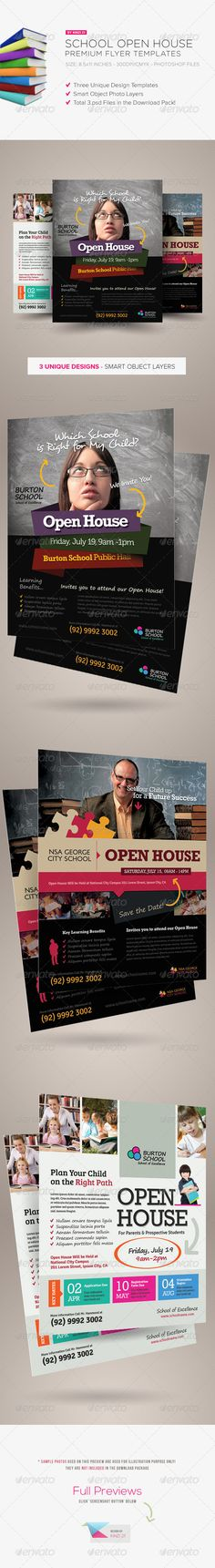 School Open House Flyers - get the template sourcefiles here: http://graphicriver.net/item/school-open-house-flyers/5212948?r=kinzi21