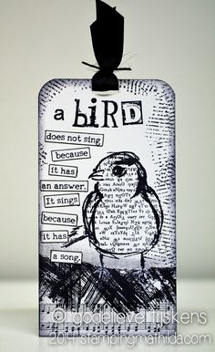 StampingMathilda: Black & White bird tag, Dina Wakley sketched birds stamp Black and white good idea Atc Cards, Card Tags, Bird Cards, Art Journal Pages, Junk Journal, Journal Cards, Timmy Time, Karten Diy, Crazy Bird