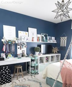 kids crafting and coloring storage solution in a dark blue girls bedroom with mo. - kids crafting and coloring storage solution in a dark blue girls bedroom with moroccan shag rug and moravian star pendant - Blue Teen Girl Bedroom, Blue Girls Rooms, Teenage Girl Bedrooms, Blue Bedroom Ideas For Girls, Preteen Bedroom, Teen Girl Rooms, Teen Bedroom Colors, Dark Blue Bedrooms, Teenage Girl Room Decor